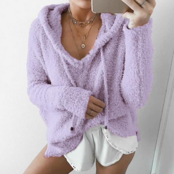 Women Fluffy Mohair Sweatshirt Autumn Warm Fleece Hoodies Drawstring V-Neck Hooded Long Sleeve Loose Pullover Tops lilac