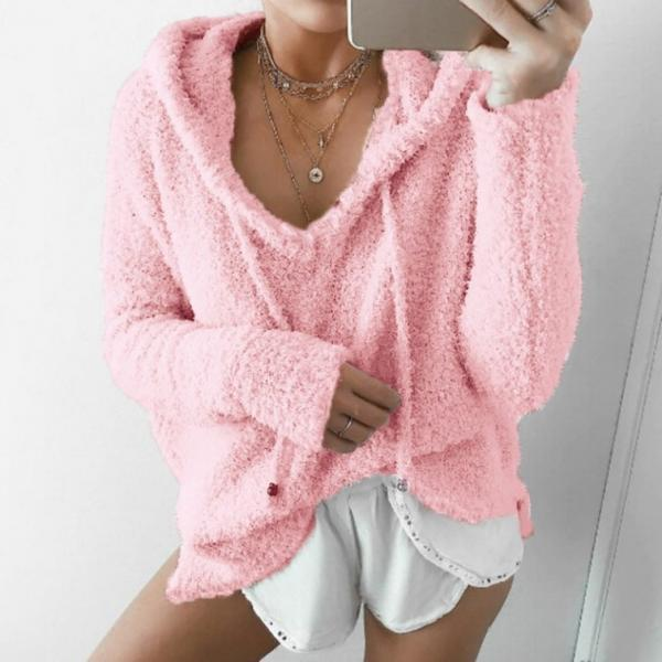 Women Fluffy Mohair Sweatshirt Autumn Warm Fleece Hoodies Drawstring V-Neck Hooded Long Sleeve Loose Pullover Tops pink