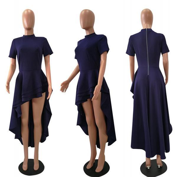 Women Asymmetrical Dress Short Sleeve Layers Ruffled High Low Evening Night Club Party Dress blue