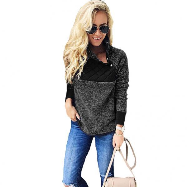 Women Sweatshirt Autumn Winter Covered Button Skew Collar Long Sleeve Casual Patchwork Warm Pullovers black