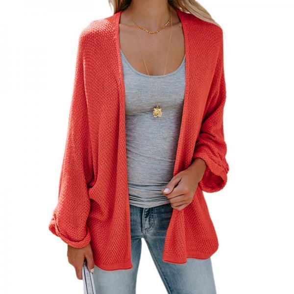 Women Knitted Cardigan Autumn Long Sleeve Solid Color Casual Loose Sweater Coat Jacket orange