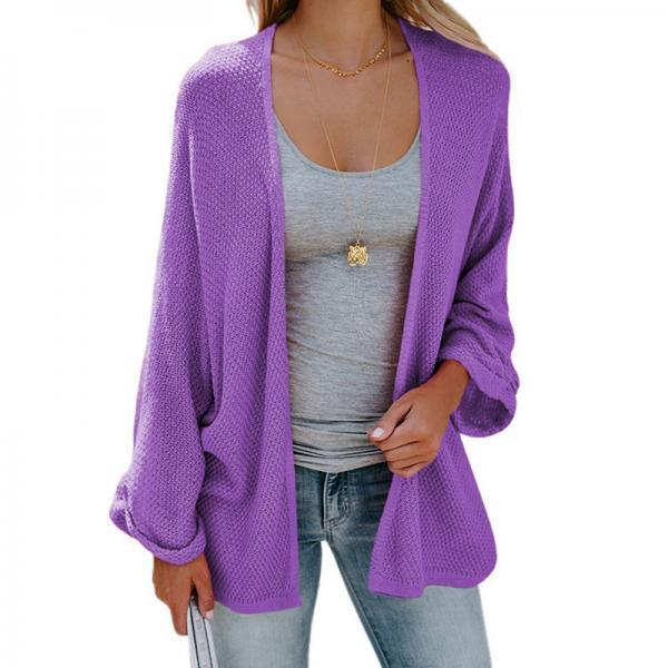 Women Knitted Cardigan Autumn Long Sleeve Solid Color Casual Loose Sweater Coat Jacket purple