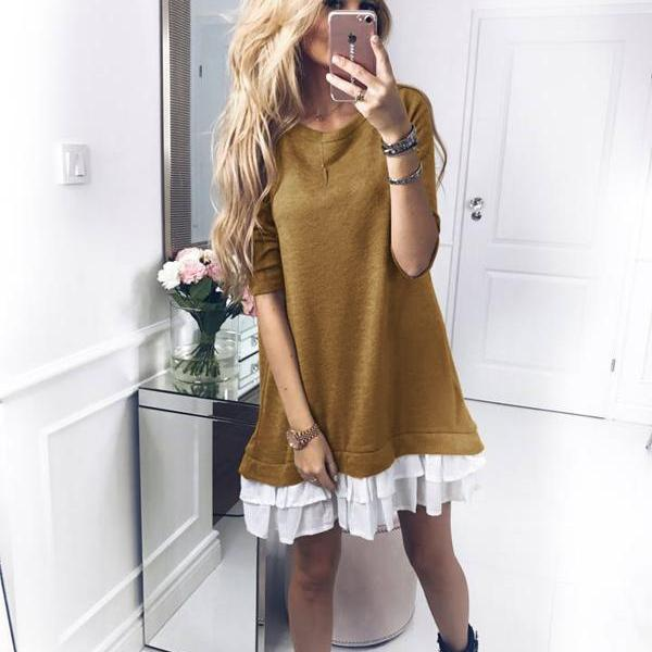 Women T Shirt Dress Autumn Long Sleeve Ruffles Patchwork Loose Warm Mini Casual Dress khaki