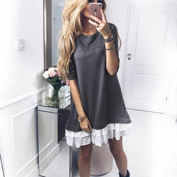 Women T Shirt Dress Autumn Long Sleeve Ruffles Patchwork Loose Warm Mini Casual Dress dark gray