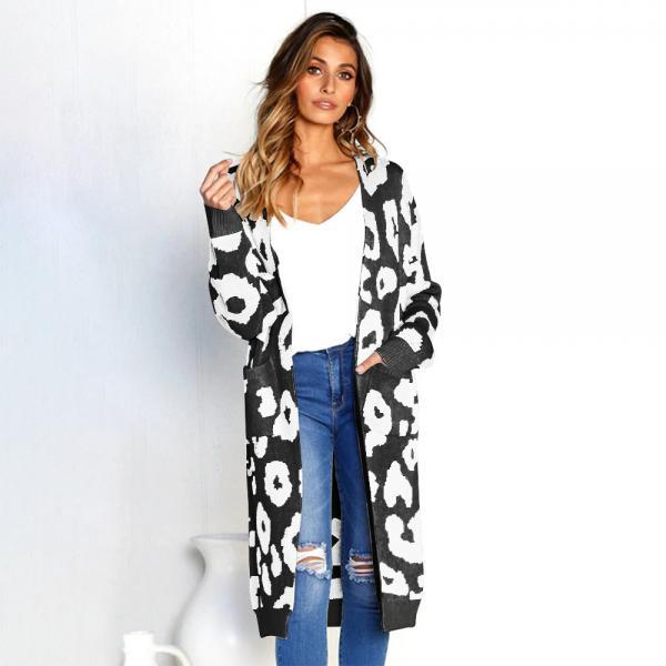Women Long Knitted Cardigan Autumn Winter Long Sleeve Pocket Casual Streetwear Loose Sweater Coat black