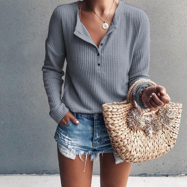 Women Pullover Tops Autumn Winter V-Neck Button Long Sleeve Casual Slim Knitted Sweater gray
