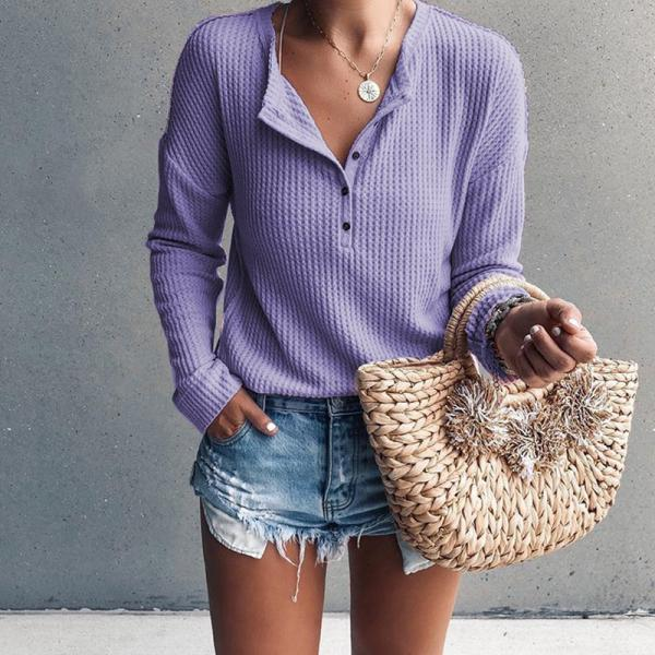 Women Pullover Tops Autumn Winter V-Neck Button Long Sleeve Casual Slim Knitted Sweater lilac