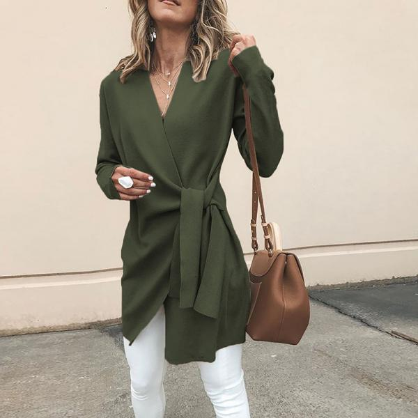 Women Slim Coat Autumn V Neck Casual Lace Up Tie Waist Long Sleeve Jacket Outwear army green