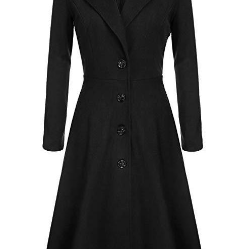Women Trench Coat Autumn Winter Single Breasted Turn-down Collar Warm Slim Long Sleeve Jacket Outwear Windbreaker