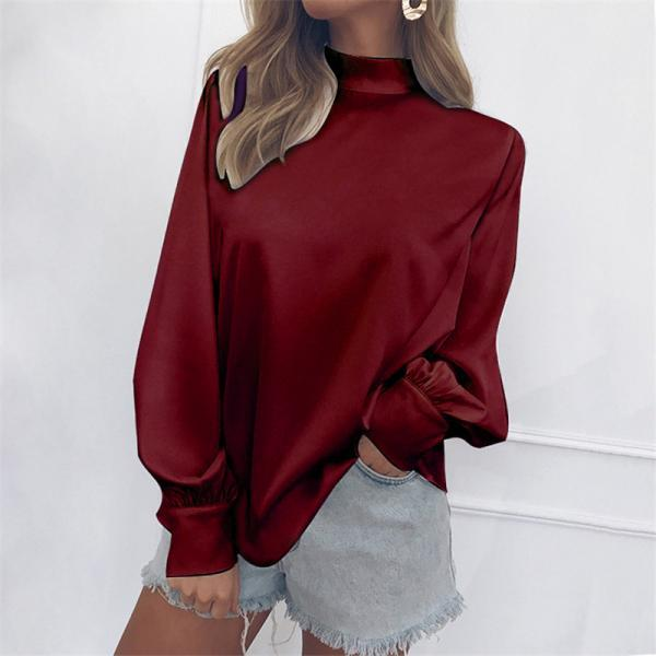 Women Blouse Autumn Turtleneck Lantern Long Sleeve Solid Casual Loose Office Tops Shirt crimson