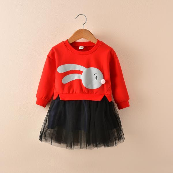 Baby Girl Dress Autumn Long Sleeve Cartoon Fake Two Pieces Patchwork Casual Children Kids Clothes red
