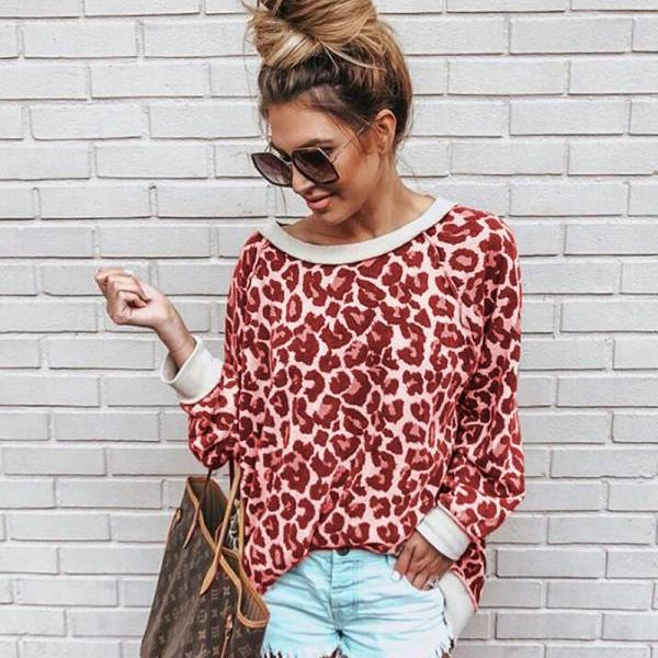 Women Sweatshirt Autumn Long Sleeve O Neck Streetwear Casual Leopard Printed Pullover Tops red