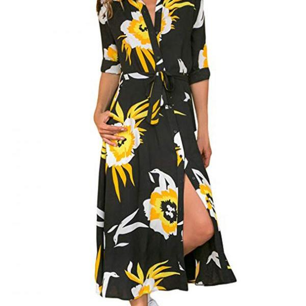Women Floral Printed Shirt Dress Long Sleeve V Neck Pocket Boho Beach Casual Maxi Dress 1#