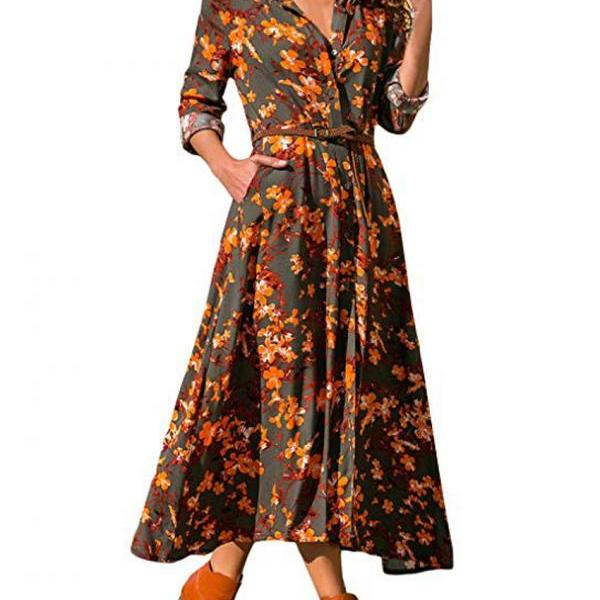 Women Floral Printed Shirt Dress Long Sleeve V Neck Pocket Boho Beach Casual Maxi Dress 2#