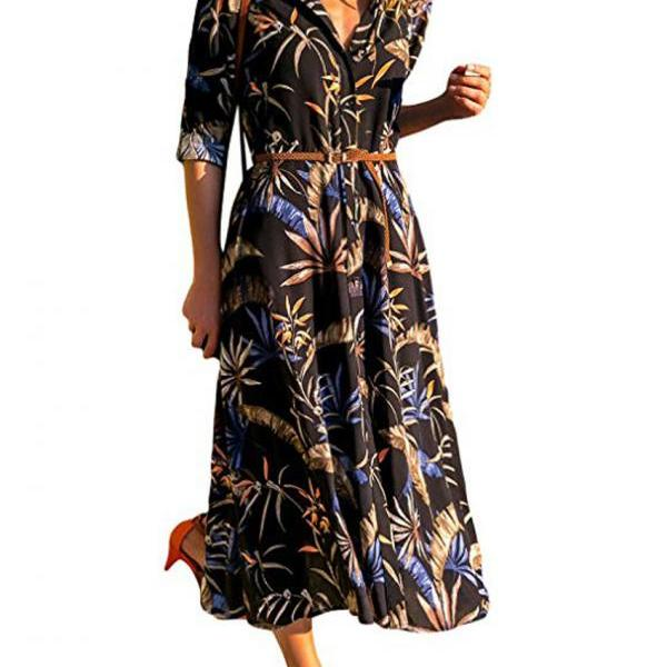 Women Floral Printed Shirt Dress Long Sleeve V Neck Pocket Boho Beach Casual Maxi Dress 3#