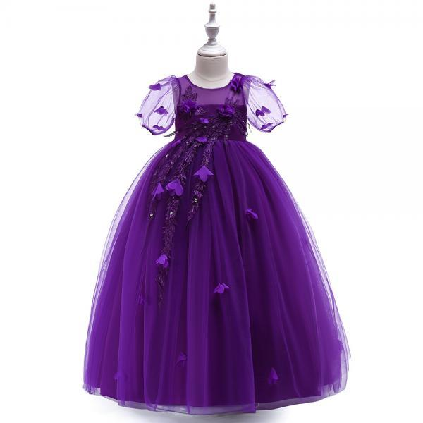 Long Flower Girl Dress Short Sleeve Princess Lace Teens Formal Perform Party Gown Children Clothes purple