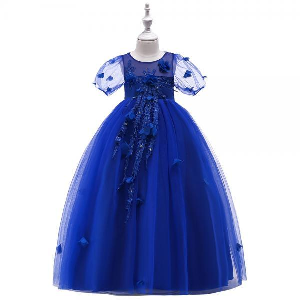 Long Flower Girl Dress Short Sleeve Princess Lace Teens Formal Perform Party Gown Children Clothes royal blue