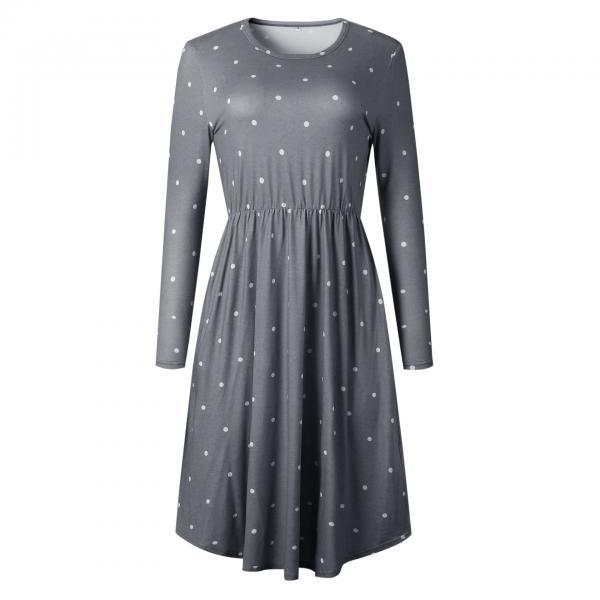 Women Casual Dress Autumn Long Sleeve Pocket Tie Streetwear Loose Striped/Floral Printed Midi Party Dress 100085-gray