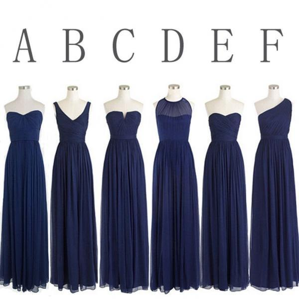 Cheap Navy Blue Bridesmaid Dress,A line Chiffon Bridesmaid Gown,Long Prom Dress, Simple Beautiful Party Dress,