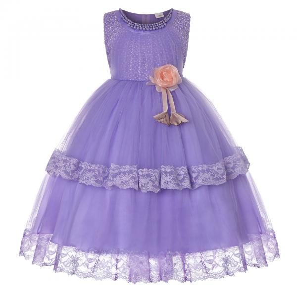 Princess Lace Flower Girl Dress Sleeveless Wedding Formal Birthday Party Christening Gown Kids Children Clothes lilac