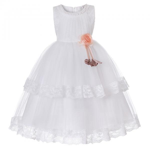 Princess Lace Flower Girl Dress Sleeveless Wedding Formal Birthday Party Christening Gown Kids Children Clothes off white