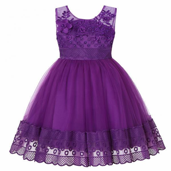 Lace Flower Girl Dress Princess Sleeveless Wedding Formal Birthday Party Tutu Gown Children Clothes purple