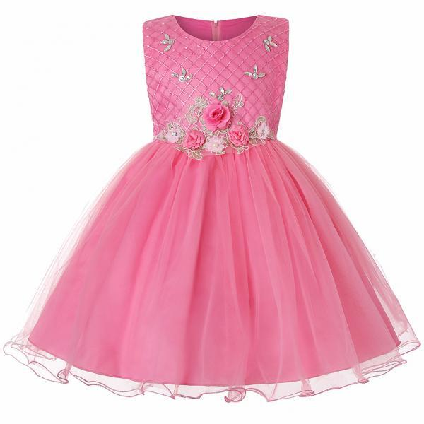 Princess Flower Girl Dress Sleeveless Knee Length Wedding Formal Birthday Party Tutu Gown Children Clothes hot pink