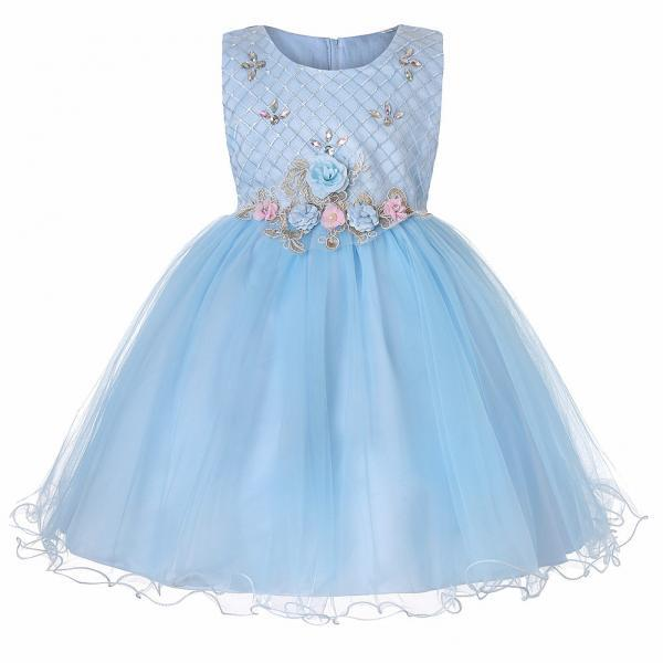 Princess Flower Girl Dress Sleeveless Knee Length Wedding Formal Birthday Party Tutu Gown Children Clothes light blue