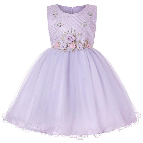 Princess Flower Girl Dress Sleeveless Knee Length Wedding Formal Birthday Party Tutu Gown Children Clothes lilac