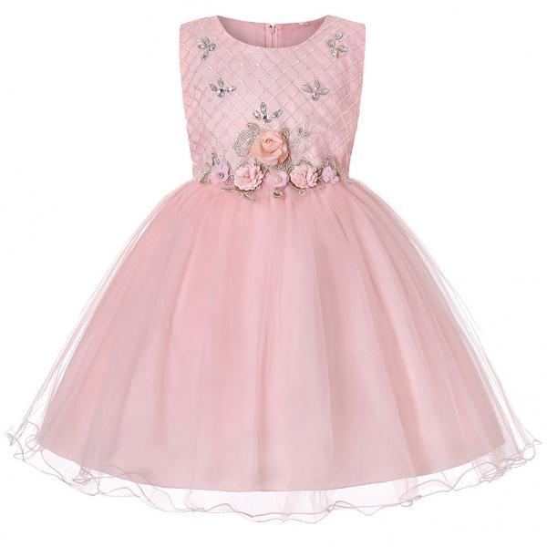 Princess Flower Girl Dress Sleeveless Knee Length Wedding Formal Birthday Party Tutu Gown Children Clothes pink