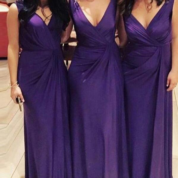 Fashion V-Neck Long Bridesmaid Dresses, Ruched Bridesmaid Dresses, Dresses,A-Line Bridesmaid Long Bridesmaid Dresses, Prom dress,
