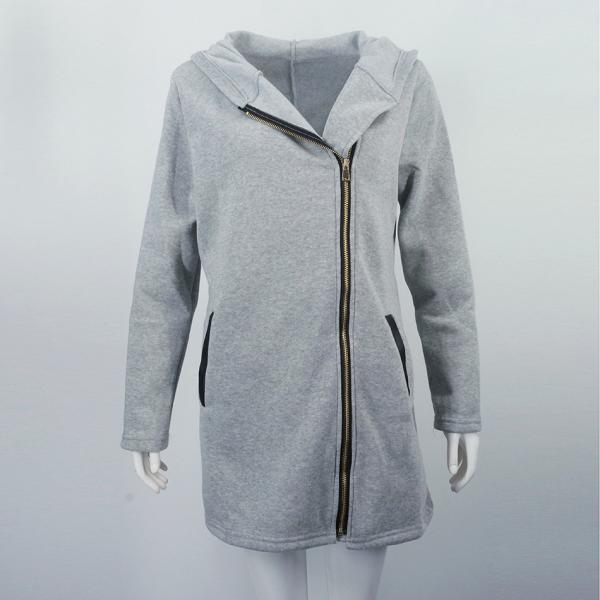 Women Long Coat Autumn Winter Patchwork Zipper Slim Casual Warm Hooded Long Sleeve Jacket Outerwear gray