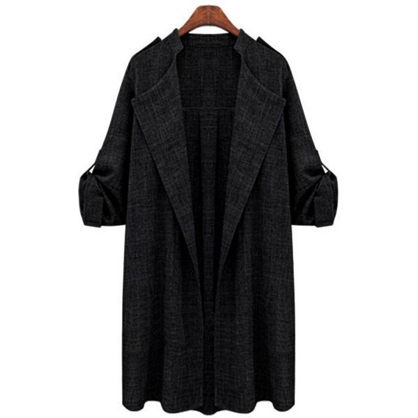 Women Trench Coat Spring Autumn Long Sleeve Plus Size Slim Windbreaker Open Stitch Cardigan Jacket black