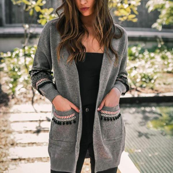 Women Knitted Sweater Coat Autumn Winter Long Sleeve Casual Streetwear Warm Open Stitch Cardigan Jacket gray