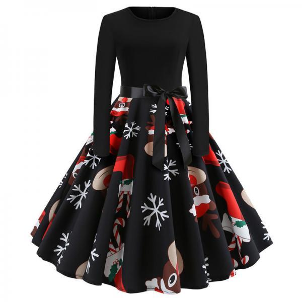 Women Christmas Dress Vintage Casual Long Sleeve Belted A Line Floral Printed Formal Party Dress 1#