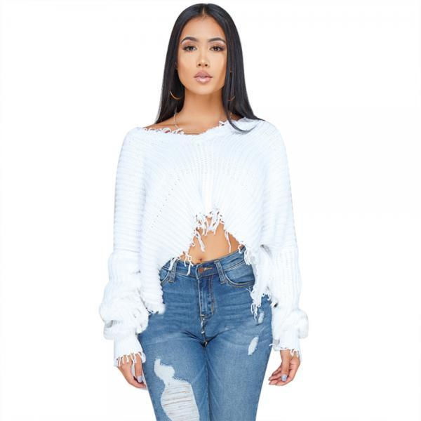 Women Oversize Knitted Sweater Autumn Winter Long Sleeve Ripped V Neck Casual Loose Pullover Crop Tops off white