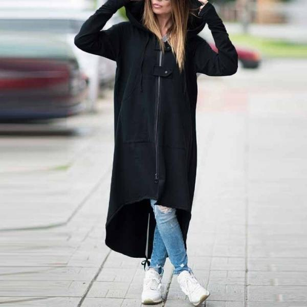 Women Sweatshirt Coat Autumn Winter Plus Size Casual Pockets Zipper Hooded Extra Long Jacket Outerwear black