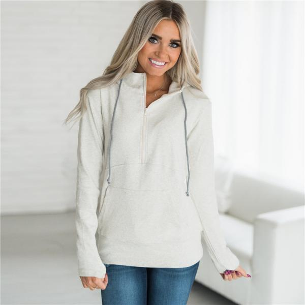 Womens Hoodies Autumn Winter Casual Zipper Hooded Pockets Sweatshirt Pullover Tops silver