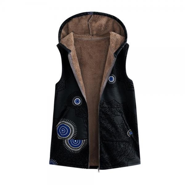 Women Floral Printed Waistcoat Winter Warm Hooded Pockets Vest Thicken Casual Plus Size Sleeveless Coat Outwear black