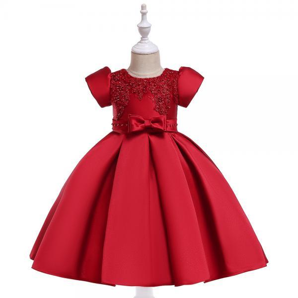 Satin Flower Girl Dress Short Sleeve Beaded Evening Prom Birthday Princess Party Gown Children Clothes crimson