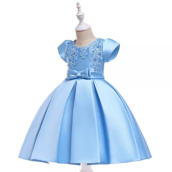 Satin Flower Girl Dress Short Sleeve Beaded Evening Prom Birthday Princess Party Gown Children Clothes sky blue
