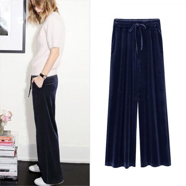 Women Velvet Pants Drawstring High Waist Plus Size Casual Loose Long Wide Leg Trousers navy blue