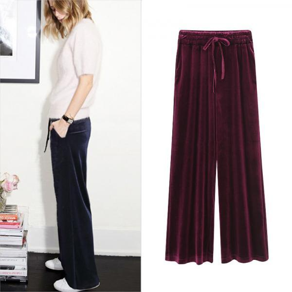 Women Velvet Pants Drawstring High Waist Plus Size Casual Loose Long Wide Leg Trousers wine red
