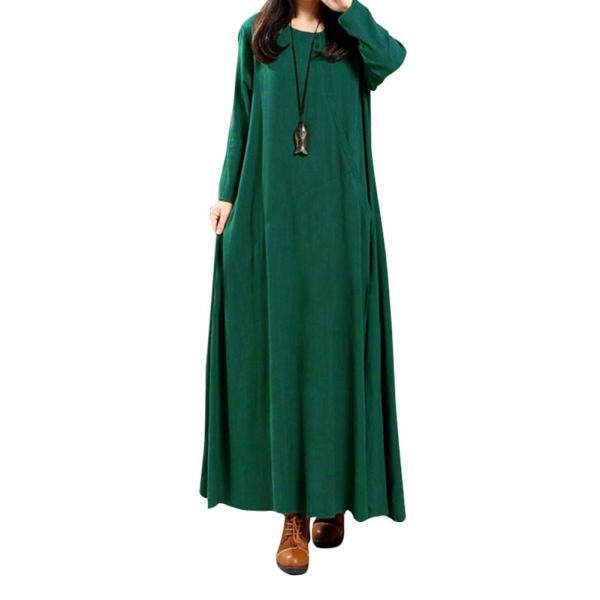 Women Maxi Dress National Style Button Long Sleeve Streetwear Casual Loose Long Dress green