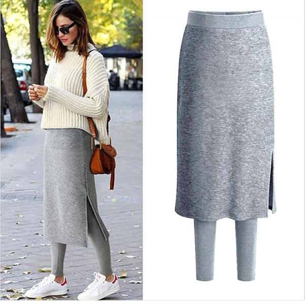 Women Fleece Skirt Pants Autumn Winter Thick Elastic Waist Plus Size Two Pieces Warm Trousers gray