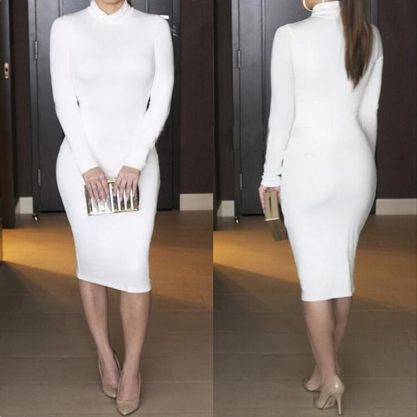 Women Midi Pencil Dress Autumn Turtleneck Long Sleeve Solid Bodycon Night Club Party Dress off white