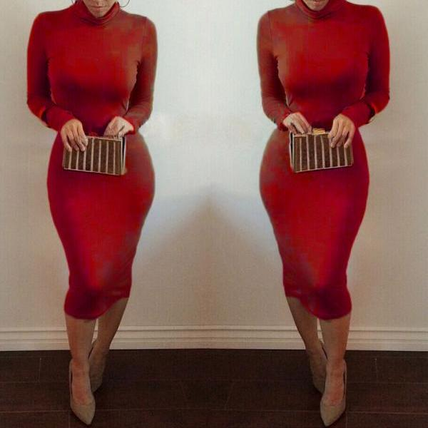 Women Midi Pencil Dress Autumn Turtleneck Long Sleeve Solid Bodycon Night Club Party Dress red