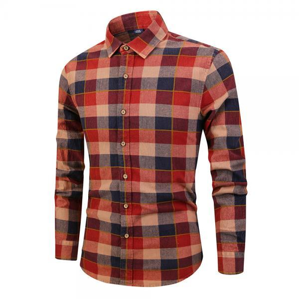 Men Plaid Printed Shirt Autumn Long Sleeve Buttons Single Breasted Casual Slim Fit Shirt red