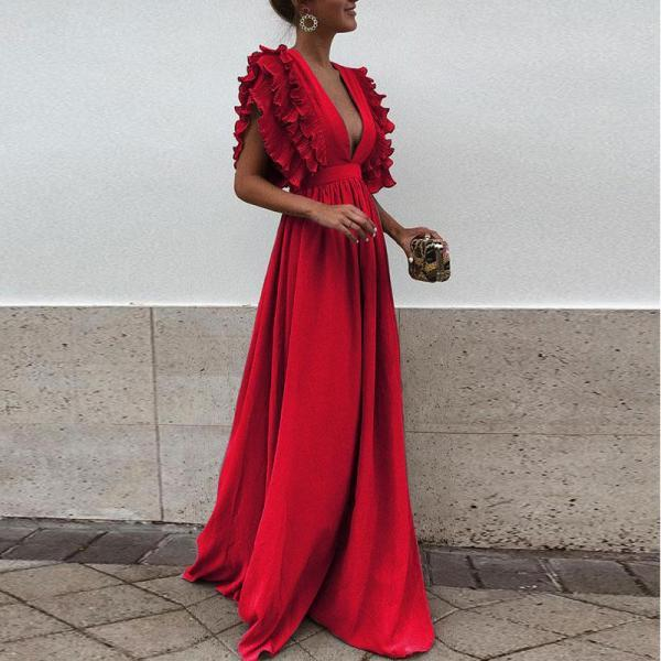 Women Maxi Dress Sexy V Neck Floor-Length Ruffles Short Sleeve Backless Long Party Dress red