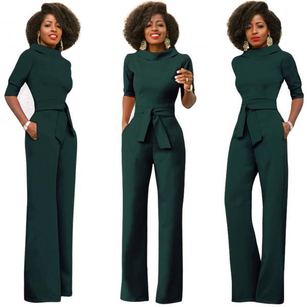 Women Jumpsuit Half Sleeve Stand Collar Belted Casual Wide Leg Pants Office Rompers Overalls hunter green